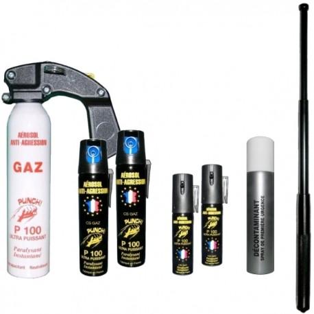 Pack complet GAZ : Extincteur 300 ml + 2 aérosols 75 ml + 2 aérosols 25 ml + Décontaminant + Matraque 50 cm