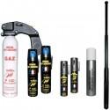 Pack complet de défense spray GAZ + Matraque télescopique