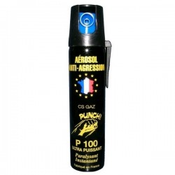 Aérosol lacrymogène PUNCH P100 - Spray GAZ 75 ml