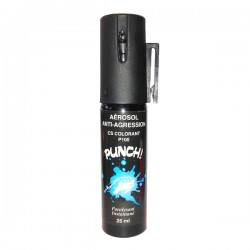 Bombe lacrymogène PUNCH Spray au CS COLORANT 25 ml