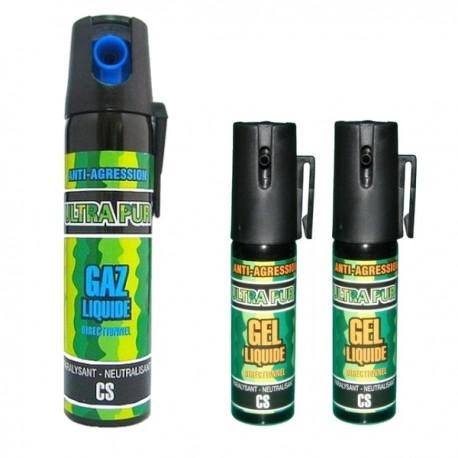 Lot de 3 bombes lacrymogènes : 75 ml GAZ et 2 x 25 ml GEL liquide