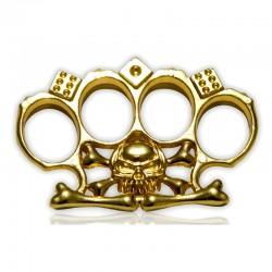 Poing américain emblème Tête de mort doré 11mm