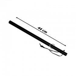 Matraque bâton caoutchouc avec dragonne en cuir 44 cm