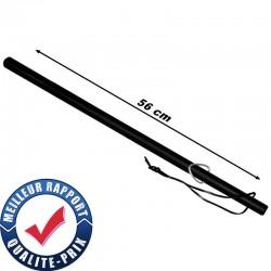 Matraque bâton caoutchouc avec dragonne en cuir 56 cm