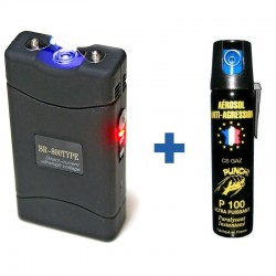 Shocker électrique 5 500 000 Volts + bombe GAZ 75 ml