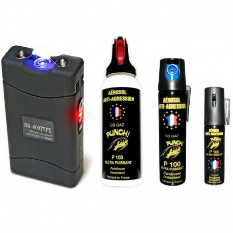 Pack taser électrique 5.500.000 Volts et aérosols lacrymogènes PUNCH en 100 ml, 75 ml et 25 ml