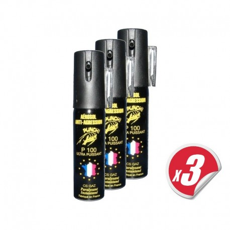 LOT de 3 bombes lacrymogènes PUNCH - Spray de défense CS GAZ 25 ml