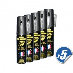LOT de 5 bombes lacrymogènes PUNCH - Spray de défense CS GAZ 25 ml