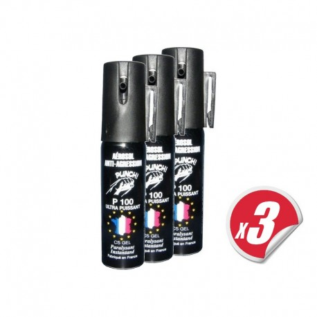 PACK de 3 bombes lacrymogènes PUNCH - Spray de défense CS GEL 25 ml