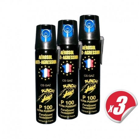 Aérosol lacrymogène PUNCH P100 - Spray GAZ 75 ml (pack de 3)
