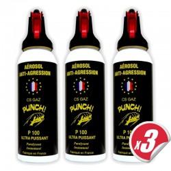 Bombe lacrymogène PUNCH - Spray puissant en GAZ 100 ml (pack de 3)