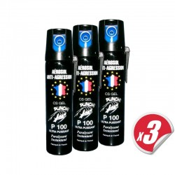 Pack x3 d'aérosol lacrymogène PUNCH P100 - Spray GEL 75 ml