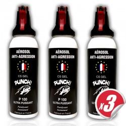 pack x3 Bombe lacrymogène PUNCH - Spray puissant en GEL 100 ml