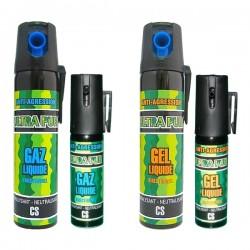 Lot de 4 bombes lacrymogènes : 25 ml et 75 ml GAZ et GEL liquide