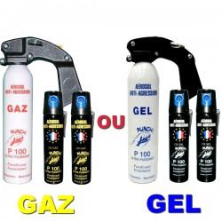 Pack PRO PUNCH P100 : Extincteur 300 ml + 2 bombes lacrymogènes 75 ml GAZ ou GEL