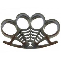 Poing américain symbole toile d araignée Argent 12mm