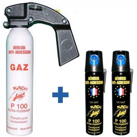 Pack PRO PUNCH P100 : Extincteur 300 ml + 2 bombes lacrymogènes 75 ml GAZ